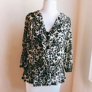 INC Leopard Ruffle Mesh Blouse with Lining